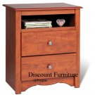 CHERRY 2 DRAWER TALL CUBBIE NIGHT STAND