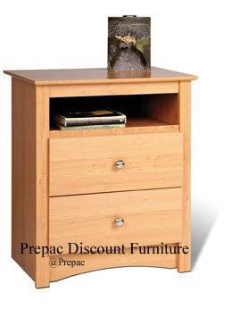 MAPLE 2 DRAWER TALL CUBBIE NIGHT STAND