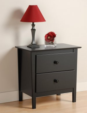 BLACK BERKSHIRE 2 DRAWER NIGHTSTAND/TABLE