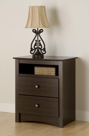 ESPRESSO TALL 2 DRAWER  NIGHT STAND/TABLE FREMONT COLLECTION