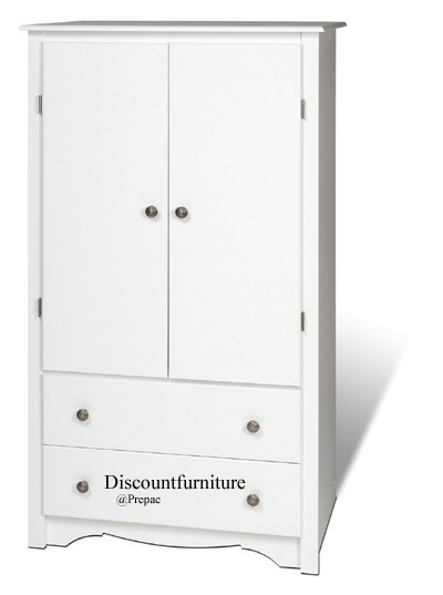2 DR MONTEREY WHITE  ARMOIRE CABINET BY PREPAC
