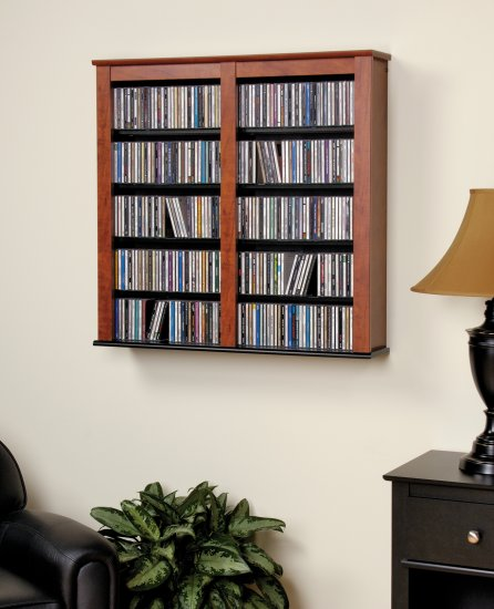 """CD,DVD,VHS 33"""" WIDE CHERRY HANGING WALL STORAGE"""
