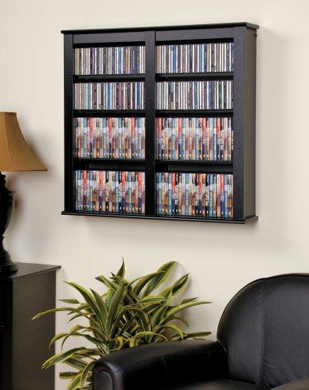 "CD,DVD,VHS 33"" WIDE BLACK HANGING WALL STORAGE"