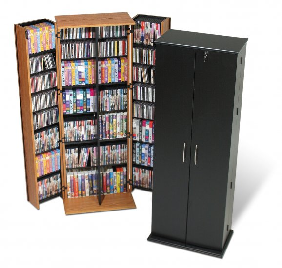 LARGE OAK  DVD CD VIDEO DELUXE STORAGE WITH LOCK