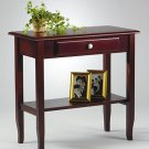 MERLOT SOLID WOOD  CONSOLE/FOYER TABLE W/DRAWER SHELF