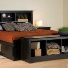 BLACK  QUEEN MATES BEDROOM SET- HEADBOARD, BED, ARMOIRE, BENCH
