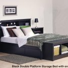 BLACK FULL BEDROOM SET  HDBOARD, BED  2 TALL NGTST  BENCH