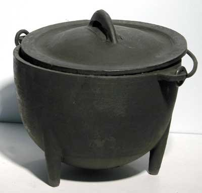 Cast Iron Cauldron Large Bowl with Cover