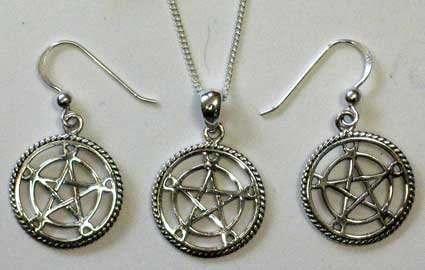 Pentacle With Crescent Moons Necklace & Earrings Set
