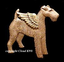 Airedale Guardian Angel Dog Pin (Wire Fox, Welsh or Irish Terrier)