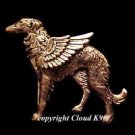 Borzoi Guardian Angel Dog Pin  ( Russian Wolfhound Angel )