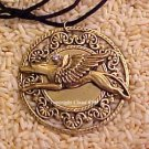 RACE FOR THE MOON Racing Greyhound / Whippet Angel Dog Pendant Necklace with Austrian Crystal