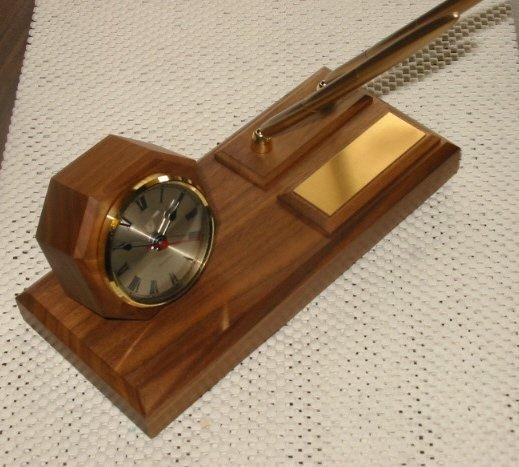 Solid Walnut Executive Desk Clock w/Penset #26