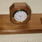 Solid Walnut Executive Desk Clock, w/Penset #27