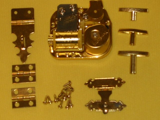 Gold Plated Music Box Movement w/Hard To Find Hardware