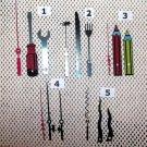 (5) Pr. Specialty Novelty Clock Hands /Crayons/DinnerWare/FishingPoles/Tools/Wavy