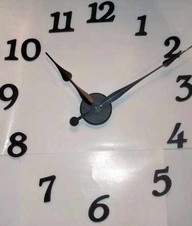"""High Torque Clock Movement w/12"""" Large Spaded Hands No6, Wall Mount  w/Deluxe Arabic Hour Numbers"""
