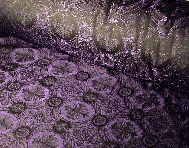 Purple Black Celtic Cross Vestment Brocade