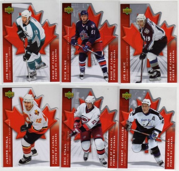 07/08 McDonalds Canada Hockey Cards Pride of Canada Complete 6 card Insert Set