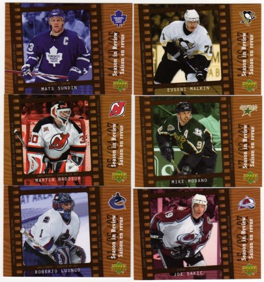 07/08 McDonalds of Canada Hockey Card Season in Review Complete 6 Card Insert Set, PACK FRESH!