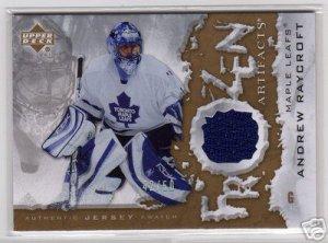 2007/2008 UD Frozen Artifacts Gold NHL Hockeys Andrew Raycroft Jersey #42/50