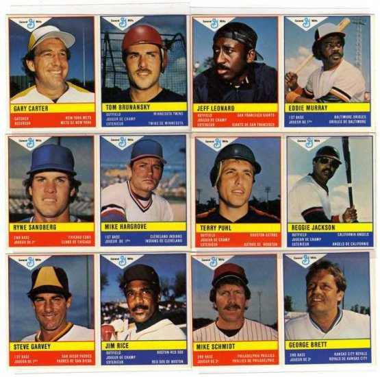 1985 MLB General Mills Baseball 6 Sticker 12 Players Lot, Steve Garvey, George Brett, Reggie Jackson