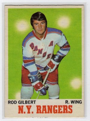 1970/1971 O-Pee-Chee NHL Hockey Card #63, Rod Gilbert New York Rangers, Mid Grade