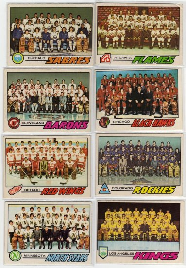 1977/1978 O-Pee-Chee NHL Hockey Team Check List's, 17 Card LOT See Large Scans Nice!