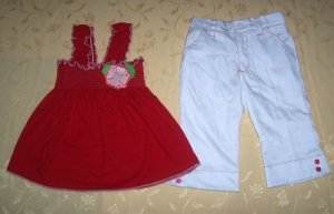 Red Smocking Dress + White Pant for 3 years old (RM55) / (S$28)