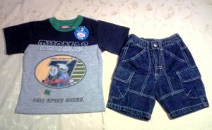 Thomas Top Grey + Blue Pants for 3 years old (RM48) / (S$24)