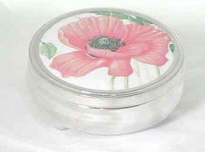Trinket or Jewellery box lined in velvet with Poppy design on lid
