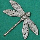 Large Dragonfly Brooch - Art Nouveau style brooch with detailed Dragonfly style