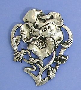 Art Nouveau style brooch design of a Pansy flower