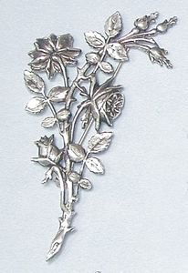 Art Nouveau style brooch design of a sprig of Briar