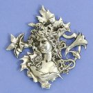 Art Nouveau style brooch design of tigerlillies