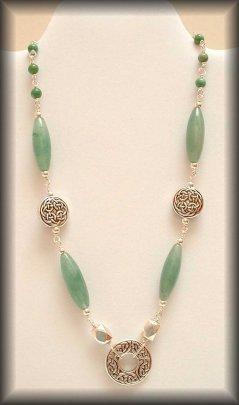 Aislinn - Silver celtic gemstone necklace