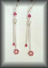 Silver Pink flower Swarovski earrings