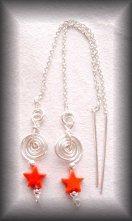 Silver Red stone star earrings