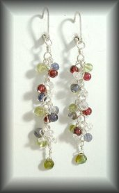 Silver gemstone earrings
