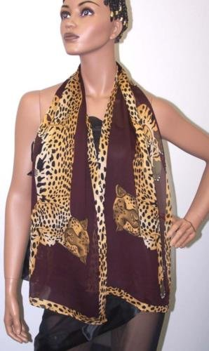 POMPEII CHEETAH TEXTURED SILK GEORGETTE SCARF-SWEET CHOCOLATE
