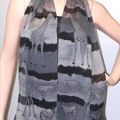 TEXTURED SILK GEORGETTE SCARF-DON'T RAIN ON MY ANIMAL PARADE