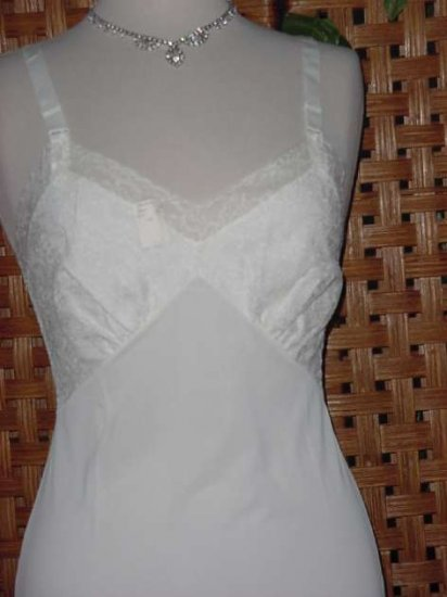 Vintage Snowdon New Old Stock Famous Barr White Bust 32  Fancy Lace Whole slip  No. 13