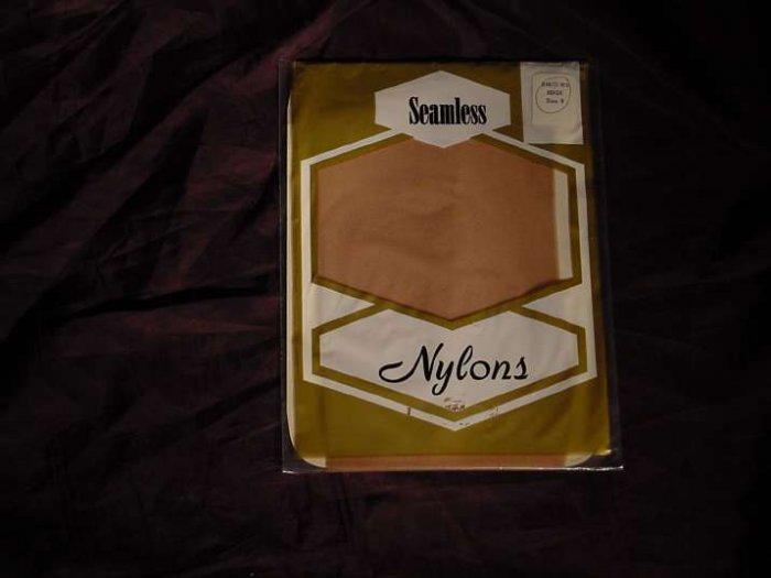 Stockings Seamless Nylons Beige size 9     No. 95