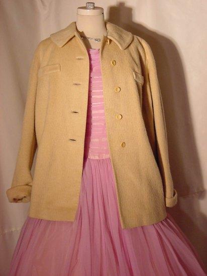 Vintage Strock Light Cream Colored Coat Jacket 1950s swing style rockabilly  No. 7