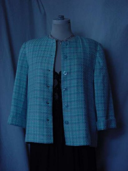 Alfred Dunner Jacket 6 Petite jacket turquoise & white Tweed  No. 14