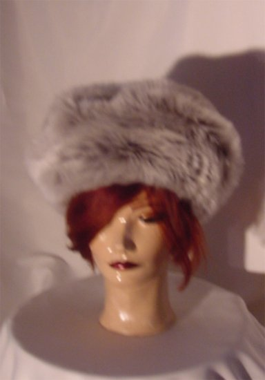 Fur Hat Gray Gray mixed plush fur faux fur Large Russian looking