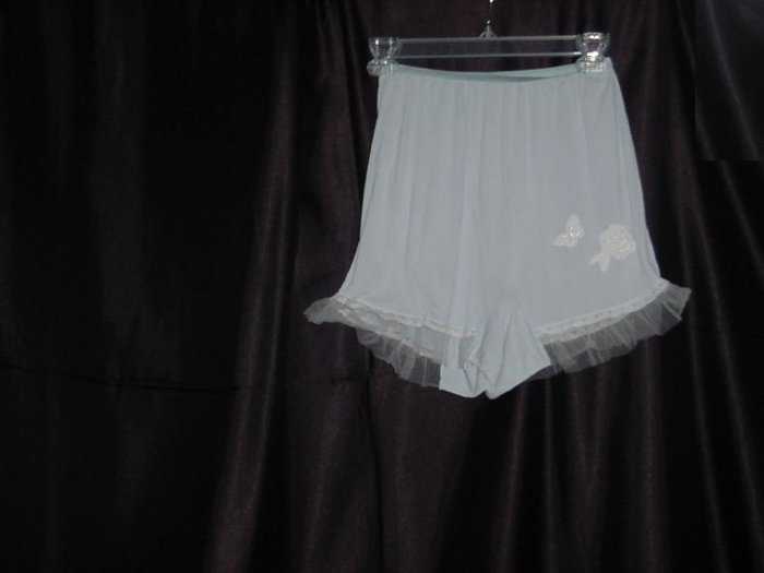 Vintage Blue white panties 40s 50s  butterfly applique with tulle on legs