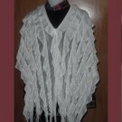 White poncho, shrug, cover, Rag look, fringe, layered material, wrap, cover up  No. 22