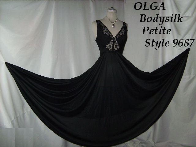 Vintage Olga Night Gown Black Bodysilk lingerie Mega Wide Skirt nightgown lovely  No. 26
