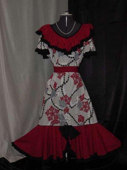 Vintage Made in Hawaii Original Black  Gray White Red Vintage Dress  #9